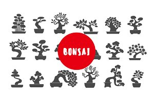Bonsai illustration icon set