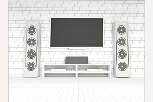 Modern white home theater