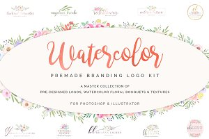 Watercolor Premade Branding Logos