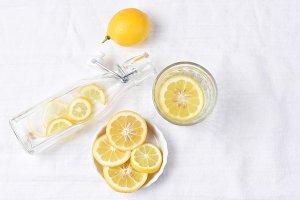 Lemon Water on Linen Towel