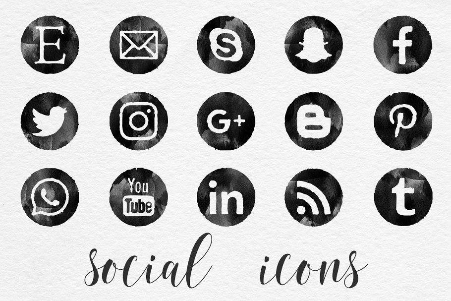 Black Watercolor Social Icons