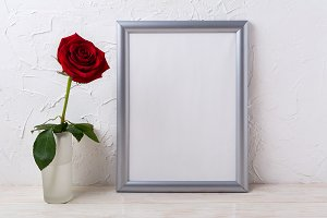 Silver frame mockup with red rose