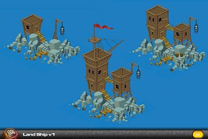 Land Ship Isometric elements