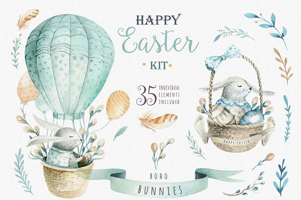 Happy easter with bunnies I