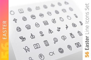 Easter Line Icons Set