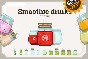 Smoothie drinks icons set (72+32)