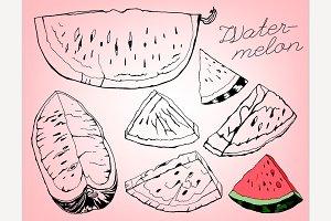 Hand Drawn Watermelon Slices