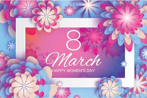 Pink Blue Paper Cut Flower. 8 March. Origami Women's Day. Rectangle Frame. Space for text