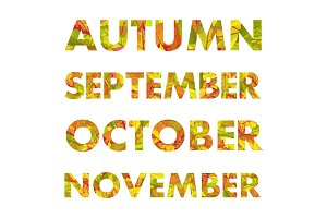 Autumn Months Names Vector Illustrations