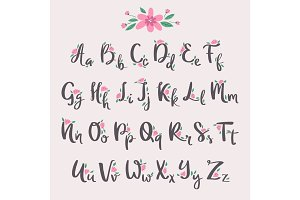 Vector colorful flower font nature colorful summer type and hand drawn alphabet spring beautiful flora set blossom lettering romantic cute design illustration.