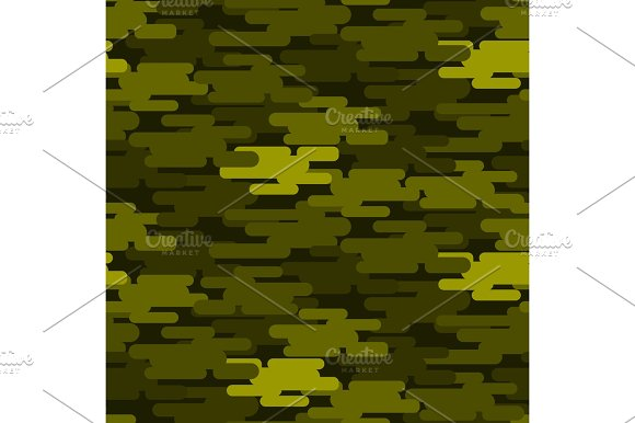 Khaki Military Camouflage Seamless Pattern Army Texture Uniform Background And Clothing Fashion Material Green Soldier Design Vector Illustration
