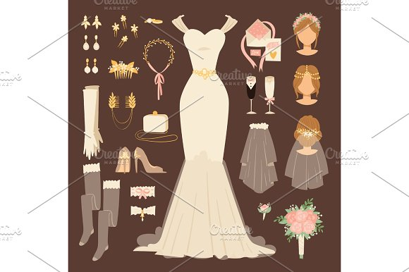 wedding fashion bride dress doodle style bridal shower sketch decor set and cartoon vector silhouette