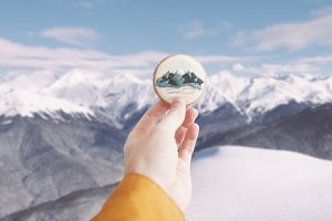 Ginger cookie with mountains print.