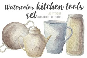 Watercolor kitchenware set