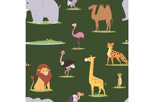 Africa animals outdoor graphic travel seamless pattern background