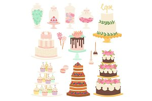 Wedding cake pie cartoon style isolated vector illustration.