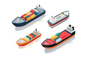 Set of Seagoing Cargo Ships Feeder Vessels. Vector