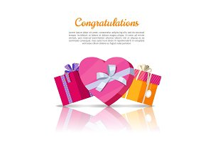 Congratulations Conceptual Web Banner in Flat Style