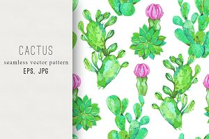 Cactus vector seamless pattern