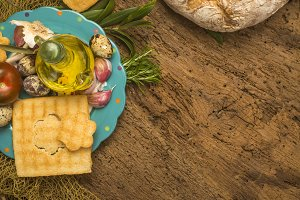 Olive oil bottle and healthy food