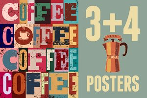 Coffee typographical vintage poster.