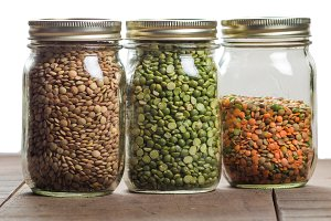 Three jars of lentils