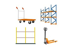 Set Of Warehouse Equipment Vector Illustrations