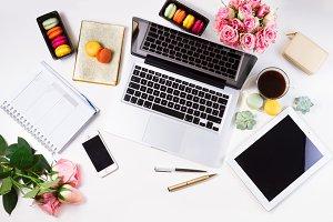 Feminine workspace, top view