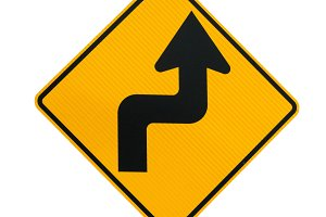 Road sign sharp curves