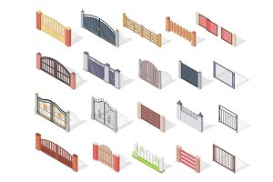 Set of Gates and Fences In Isometric Projection