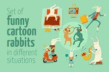 Set of funny cartoon rabbits.