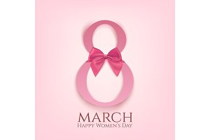 8 March greeting card template with pink bow.