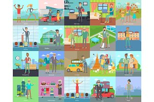 Human Banners Set. People Activities. Vector