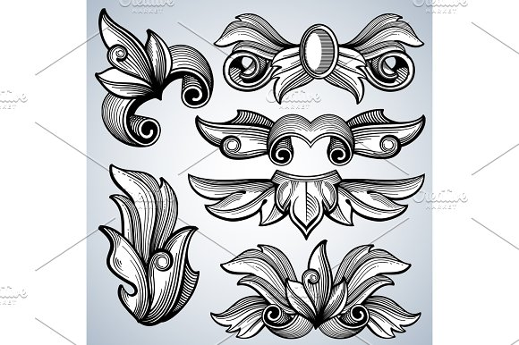 Decorative Ornate Engraving Scroll Ornament Leaves Of Baroque Victorian Frame Border Vector Set
