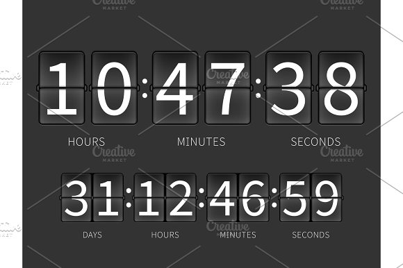 Flip Countdown Timer Hourly Schedule