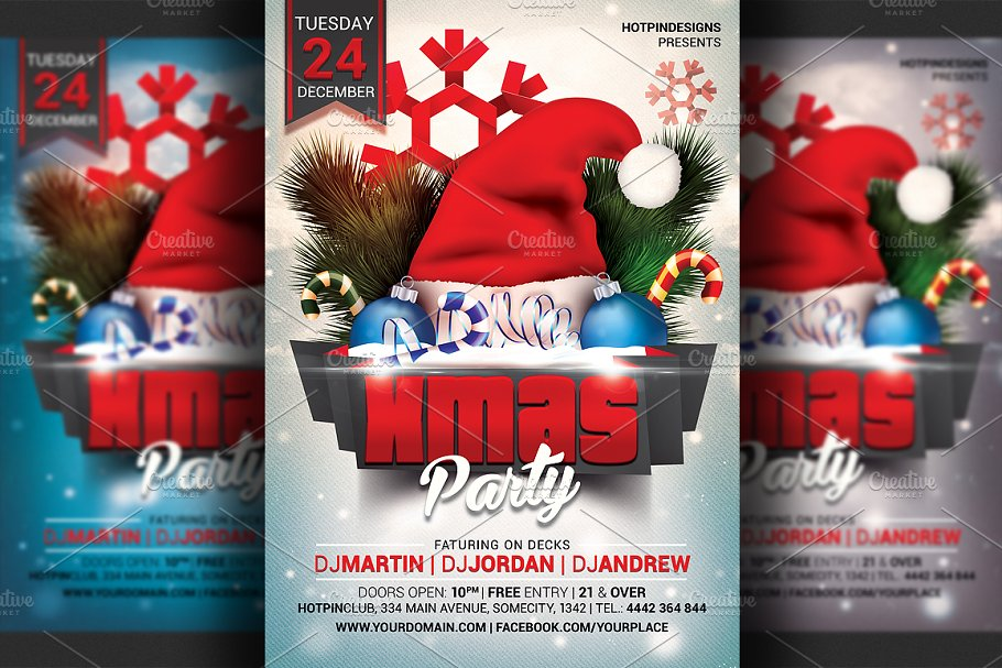 Christmas Party Flyer Template Flyer Templates Creative Market Pro