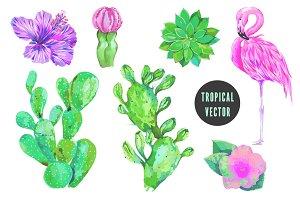 Flamingo,cactus,tropical flowers