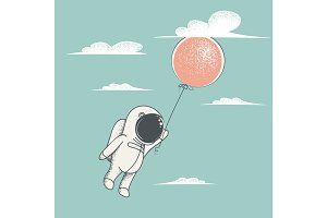 Little astronaut fly with red balloon