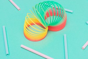 rainbow spiral with drinking straws