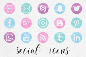 Social Media Icons - Watercolor