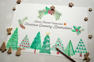 Watercolor Xmas Greenery Clip Arts