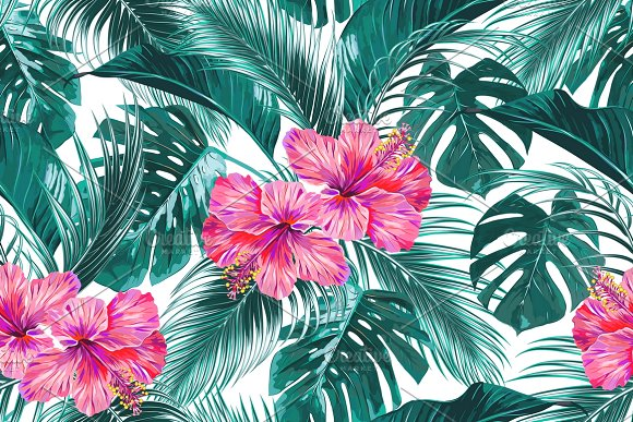 tropical flowers leaves pattern graphic patterns creative market