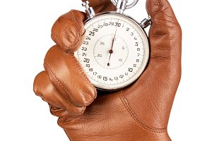 Hand in Leather glove with Stopwatch