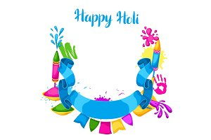 Happy Holi colorful frame. Illustration of buckets with paint, water guns, flags, blots and stains