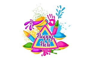Happy Holi colorful background. Illustration of buckets with paint, water guns, flags, blots and stains