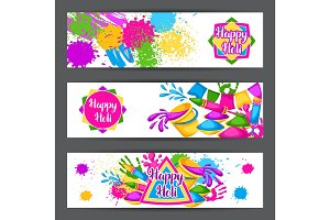 Happy Holi colorful banners. Illustration of buckets with paint, water guns, flags, blots and stains