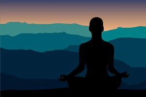 Yoga, meditation in the mountains