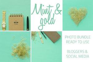 Mint and gold desktop stock bundle
