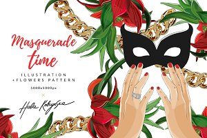 Hand with mask and red flowers