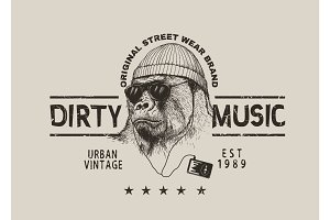 Street label for t-shirt design with gorilla